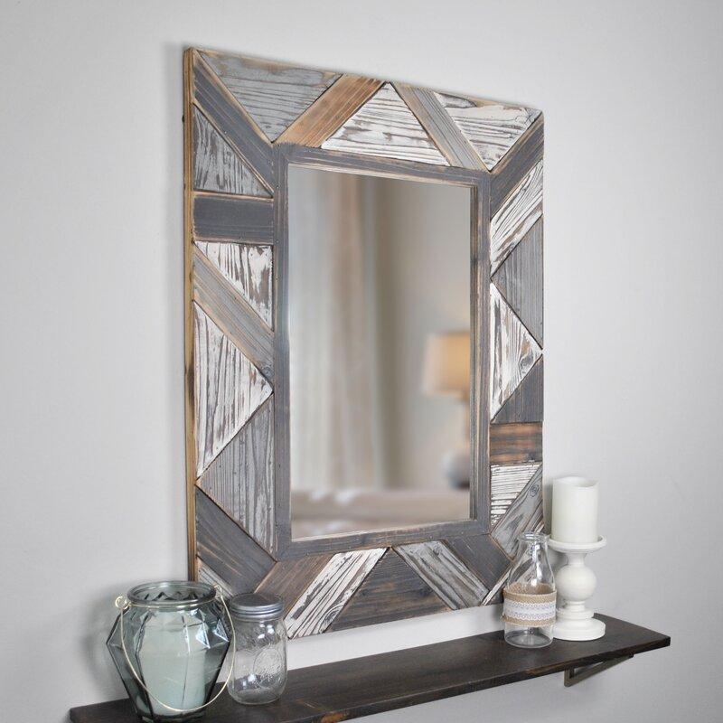 Geometric Wall Mirror - Bernice Salvaged Planks Accent Mirror