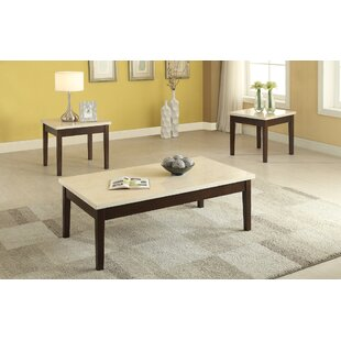 Compare prices Denico Wooden 3 Piece Coffee Table Set with Faux Marble Top By Winston Porter