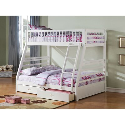Friedensburg Wooden Twin over Full Bunk Bed with Drawers Harriet Bee
