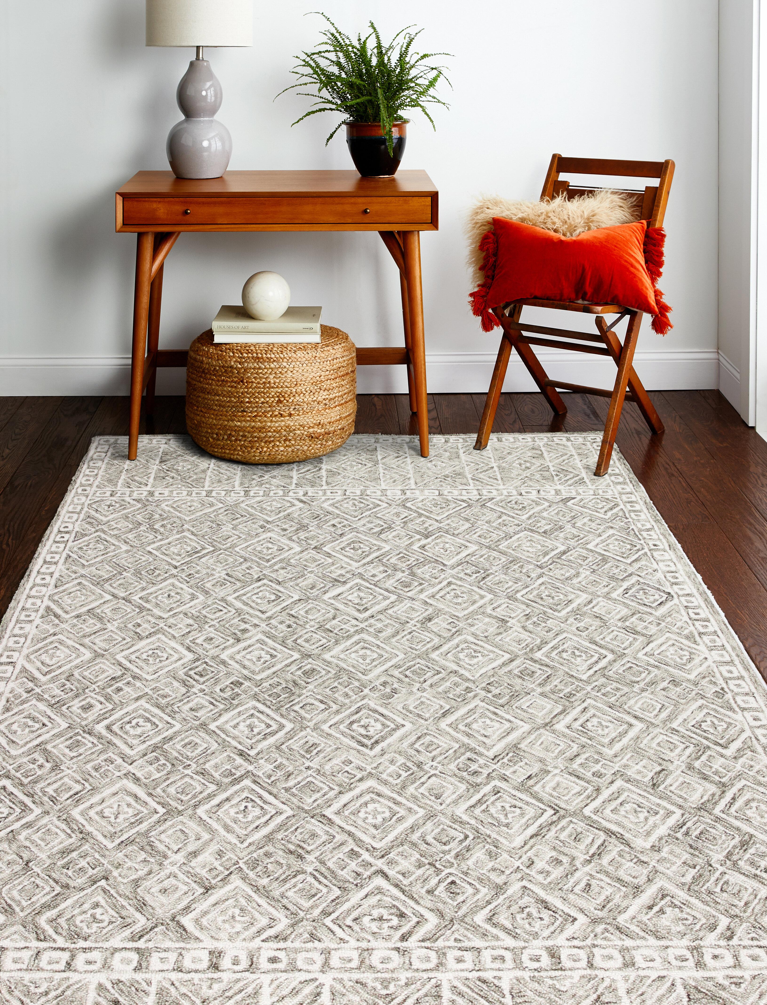 Lafontaine Geometric Handmade Tufted Wool Taupe Area Rug Reviews Birch Lane