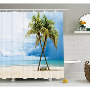 Best Choices Tropical Beach Palm Trees Rock Shower Curtain Set By Ambesonne