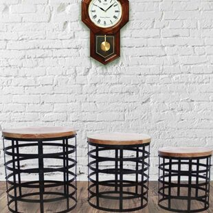 Burling Contemporary Wood and Iron 3 Piece Nesting Tables by Ivy Bronx