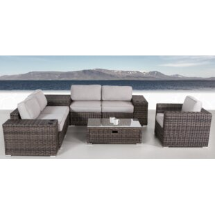 Nolen 8 Piece Rattan Sectional Set with Cushions