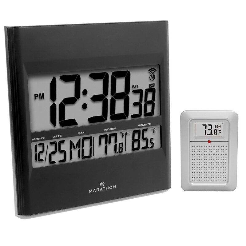 Digital Atomic Wall Clock With Indoor Outdoor Temperature And Date