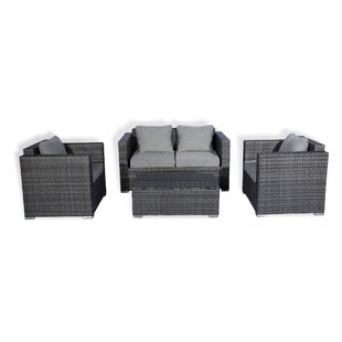 Seigler 4 Piece Rattan Sofa Seating Group with Cushions