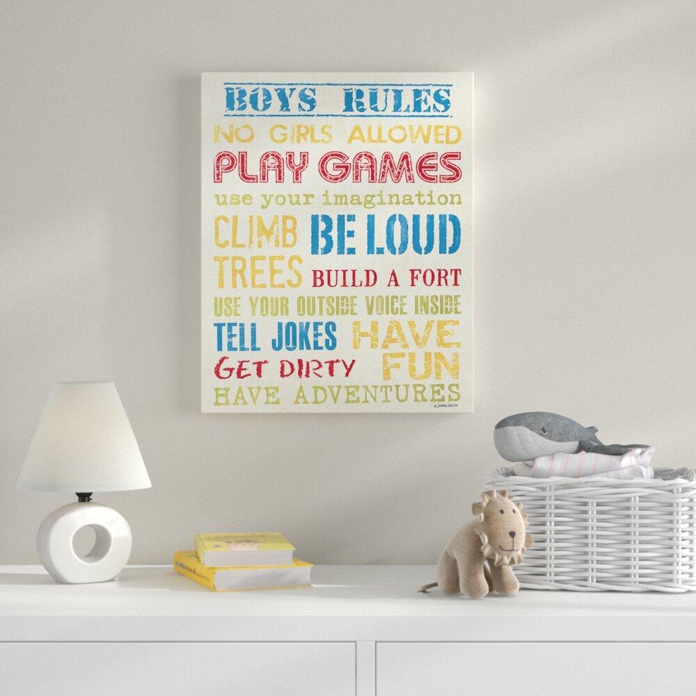 Zoomie Kids Boys Rules Textual Art Wayfair