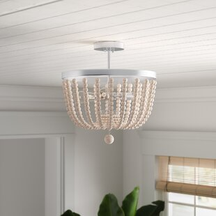 Tilden Wood Bead 3-Light Semi Flush Mount by Bay Isle Home