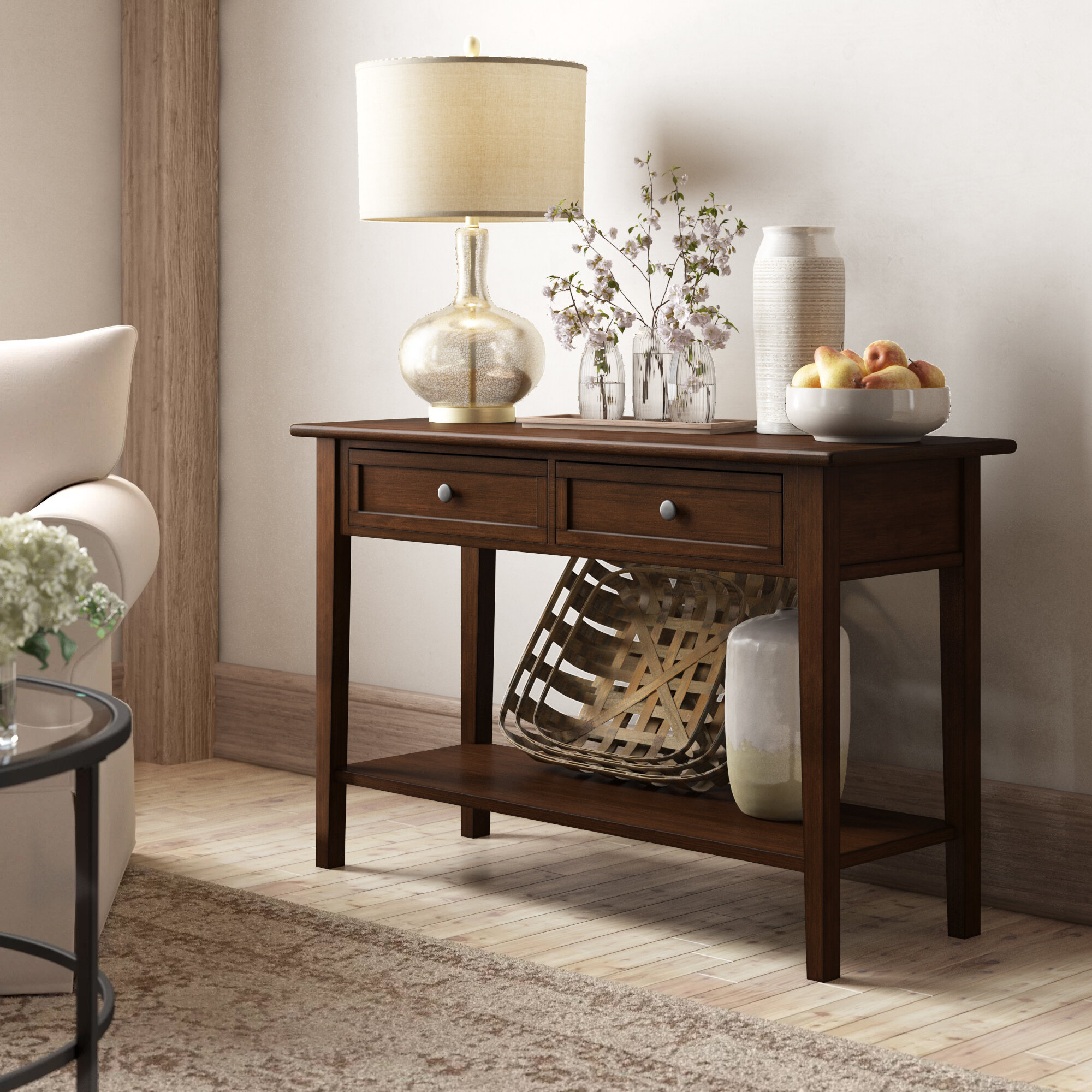 """Table A Langer D Angle erica 46"""" solid wood console table"""