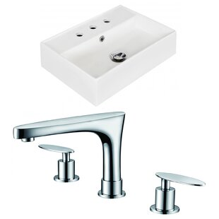 Buy clear Ceramic 20 Wall-Mount Bathroom Sink with Faucet and Overflow ByRoyal Purple Bath Kitchen