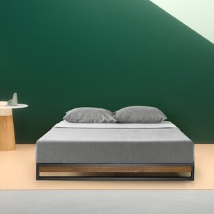 Permelia Metal and Wood Platform Bed