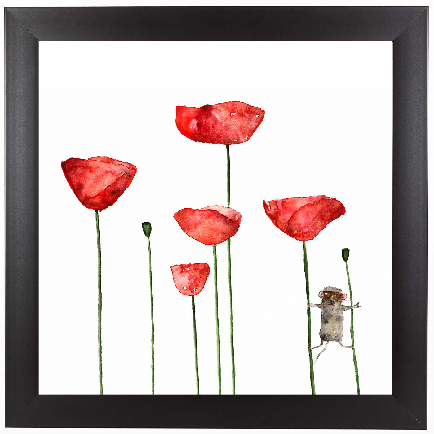 East Urban Home Poppies Flowers Mouse Framed Watercolor Graphic