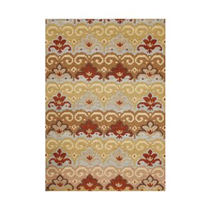 Seneca Hand-Tufted Tan/Red Area Rug
