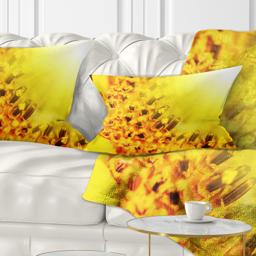 East Urban Home Floral Bright Sunflower Close Up Lumbar Pillow