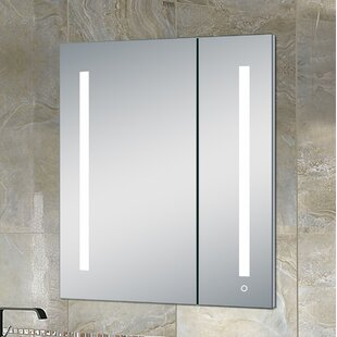 Websterville Recessed Frameless 2 Door Medicine Cabinet with 3 Adjustable Shelves and LED Lighting and Electrical Outlet