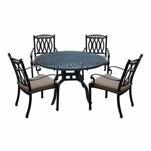 Darby Home Co Otsego 5 Piece Rust-Free Aluminum Dining Set with Cushions