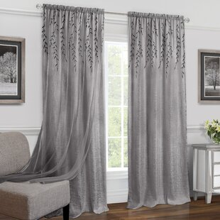 Goldston Solid Color Semi-Sheer Rod Pocket Single Curtain Panel by Charlton Home