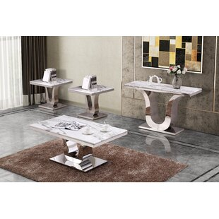 Margate Marble 4 Piece Coffee Table Set Everly Quinn