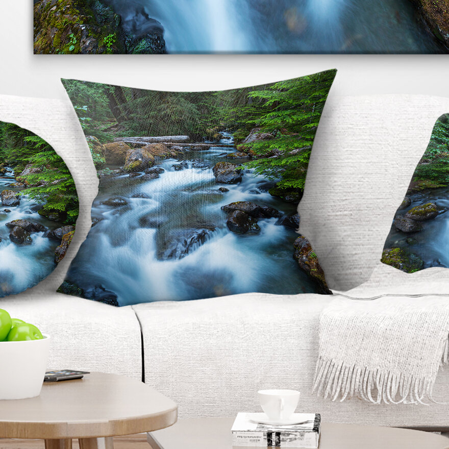 East Urban Home Landscape Rushing Water In Forest Creek Pillow