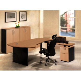 OfisELITE Executive Management 4 Piece L-Shaped Desk Office Suite