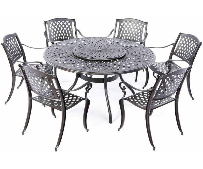 Darby Home Co Quince 7 Piece Dining Set With Lazy Susan Wayfair