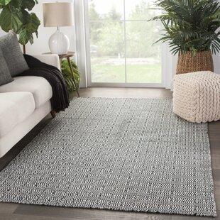 Block Trellis Handwoven Flatweave White/Black Indoor/Outdoor Area Rug
