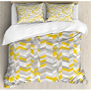 geometric vintage 60s home decor inspired zig zags duvet set - Vintage Bedding