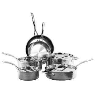 10 Piece Hammered Stainless Steel Cookware Set