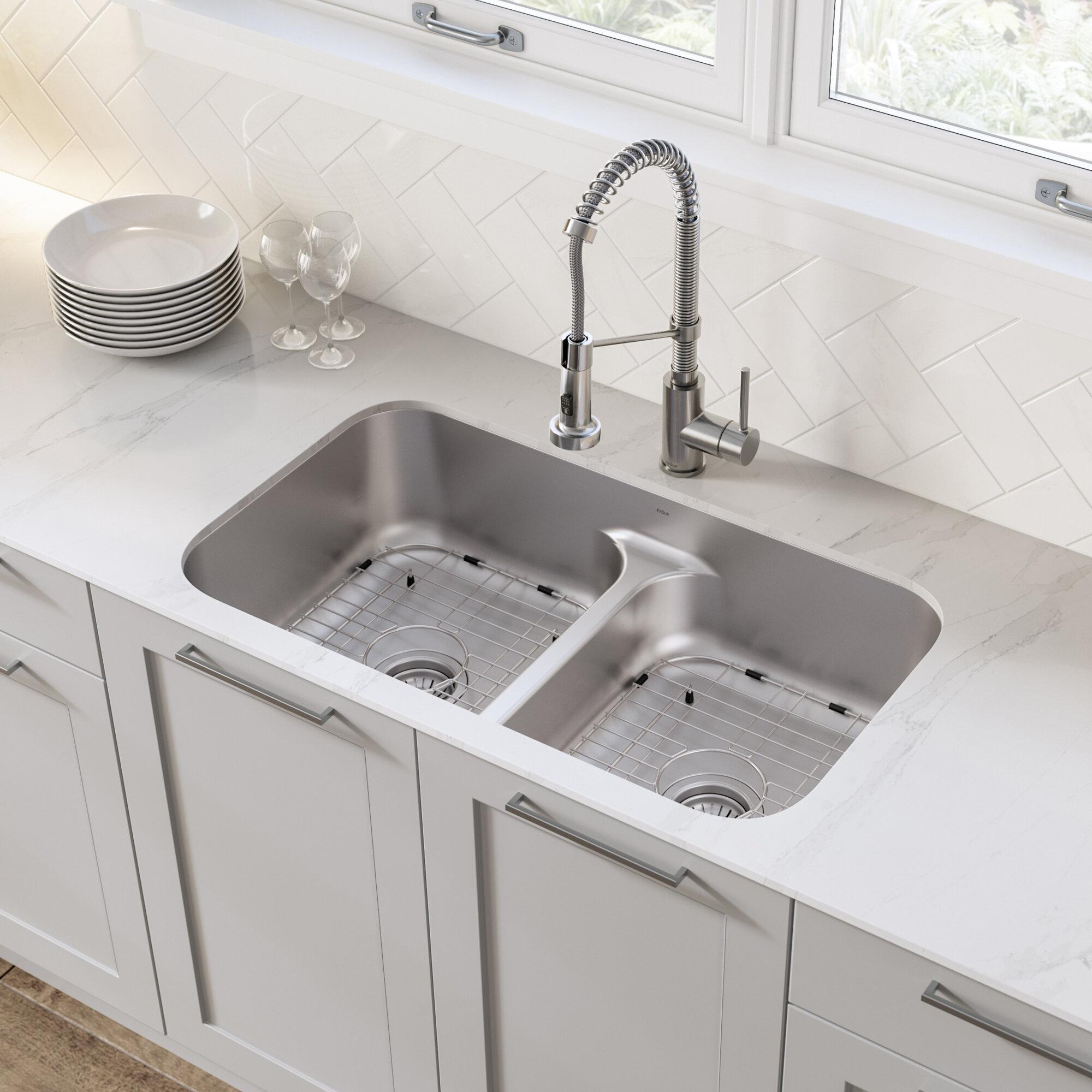 Kraus Ellis 32 L X 18 W Double Basin Undermount Kitchen Sink With Faucet Reviews Wayfair
