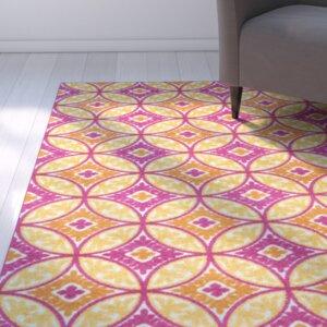 Dorinda Pink/Yellow Geometric Indoor/Outdoor Area Rug