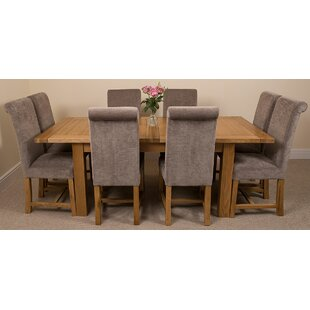 Sairsingh Kitchen Solid Oak Extendable Dining Set With 8 Chairs By Rosalind Wheeler
