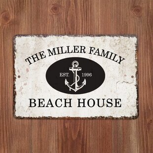 Personalized Distressed Vintage-Look Beach House Metal Sign Wall Décor By 4 Wooden Shoes