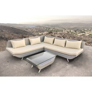 Solis Patio Adonis 3 Piece Rattan Sectional Set with Cushions