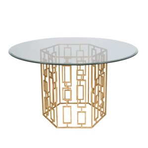 Dining Table with Glass Top by Worlds Away