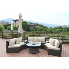 Sidwell 6 Piece Rattan Sectional Set with Cushions