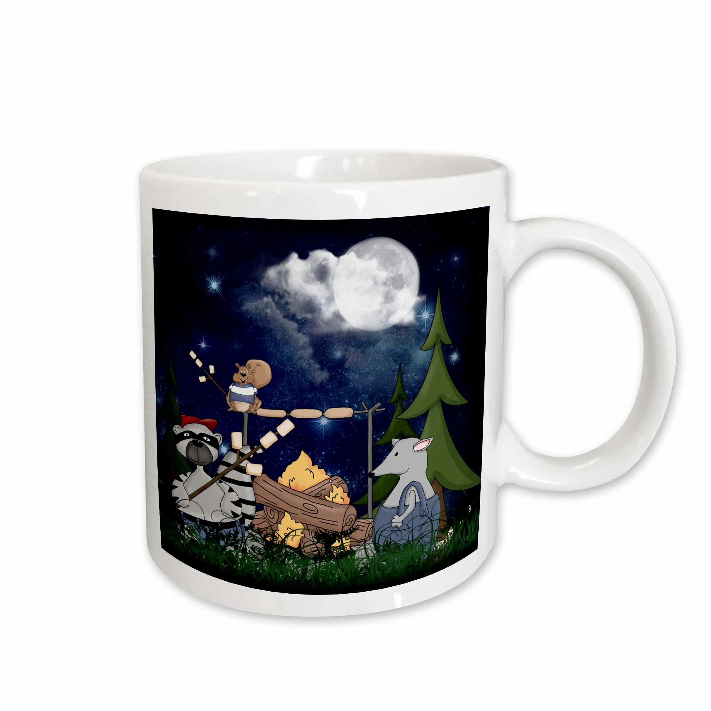 East Urban Home Raccoon Squirrel And Opossum Camping With A Campfire And Marshmallows Coffee Mug Wayfair