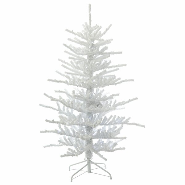 new products 8ac3c dd279 5.5' Flocked White/Green Twig Artificial Christmas Tree with 250 LED  Clear/White Lights with Stand