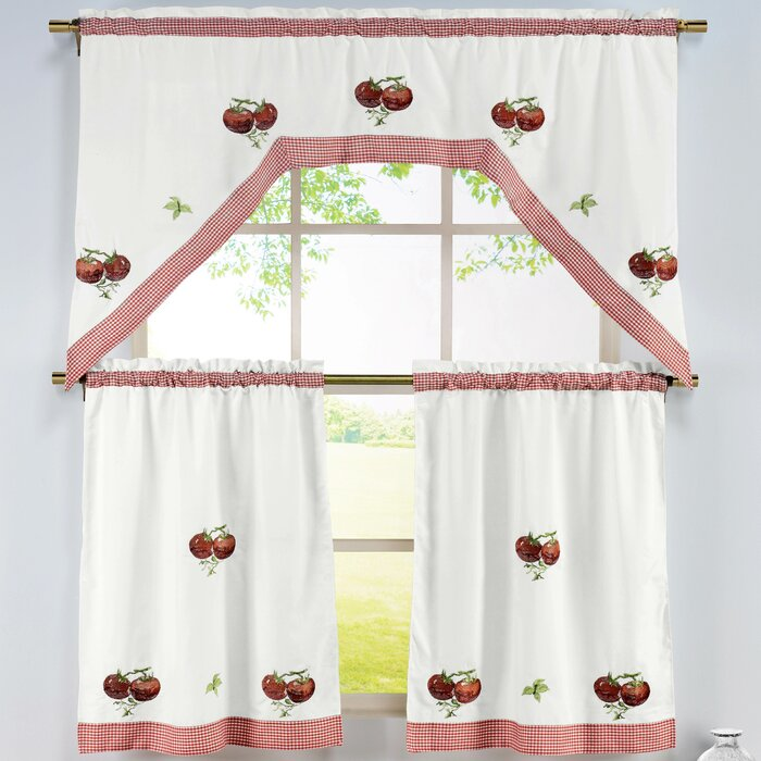 Tomatoes 3 Piece Embroidered Kitchen Valance and Tier Set
