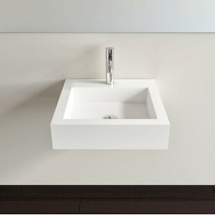Price comparison Polymarble 19 Wall Mount Bathroom Sink with Overflow By Badeloft