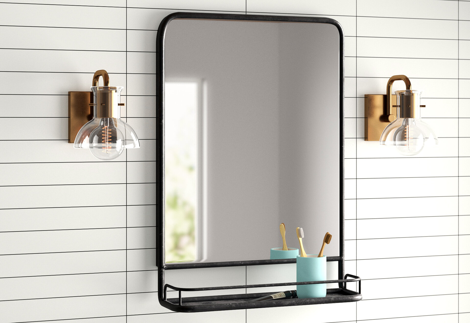 Ashtyn Accent Mirror With Shelves Reviews Allmodern