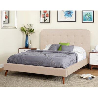 save to idea board beige june mid century queen upholstered platform bed
