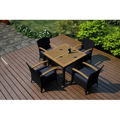 Holbrook 5 Piece Teak Dining Set With Sunbrella Cushions by Rosecliff Heights Wonderful
