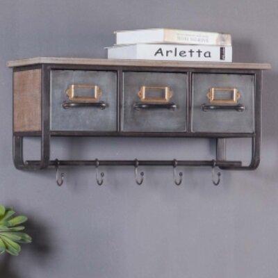 17 Stories Emmanuelle Metal and Wood Wall Shelf