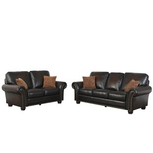 Darby Home Co Fallsburg 2 Piece Leather Living Room Set