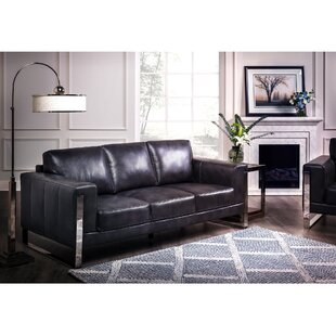Leather Sofa With Chrome Legs | Wayfair