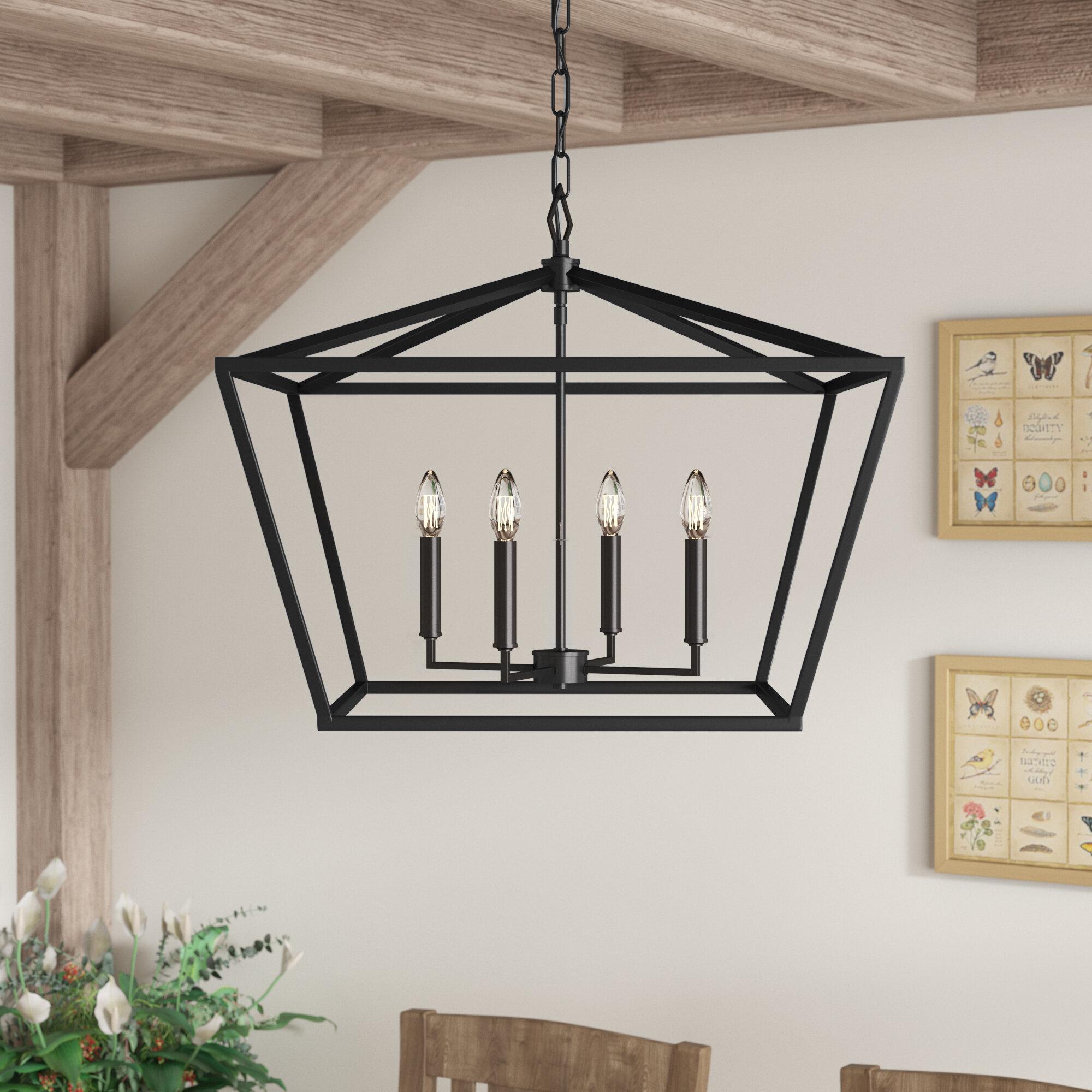 Poisson 4 Light Lantern Rectangle Square Chandelier