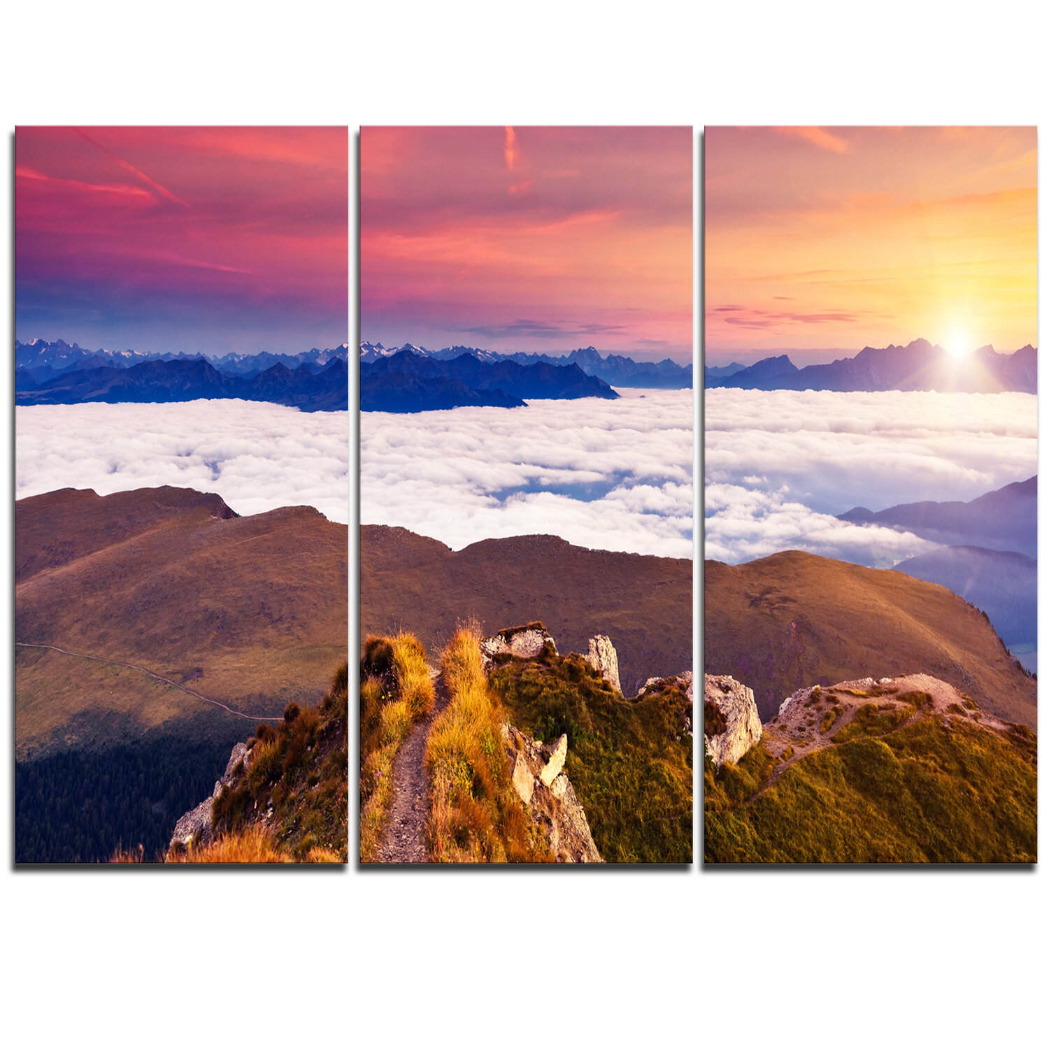 Designart Foggy Val Gardena Valley Panorama 3 Piece Graphic Art On Wrapped Canvas Set Wayfair