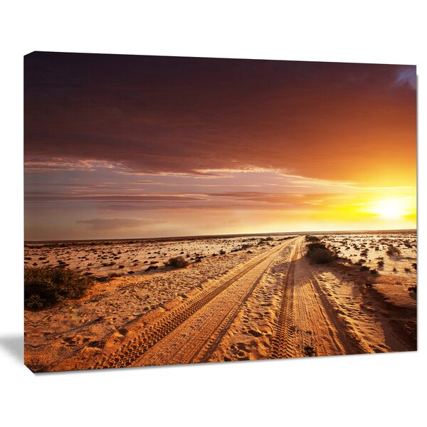 Designart Off Road In Desert At Sunset Photographic Print On Wrapped Canvas Wayfair