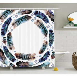 Feather with Little Stars Decor Single Shower Curtain
