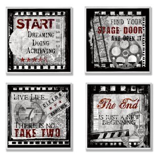'Cinematic Expressions' Square Graphic Art Wall Plaque Set (Set of 4) by Winston Porter