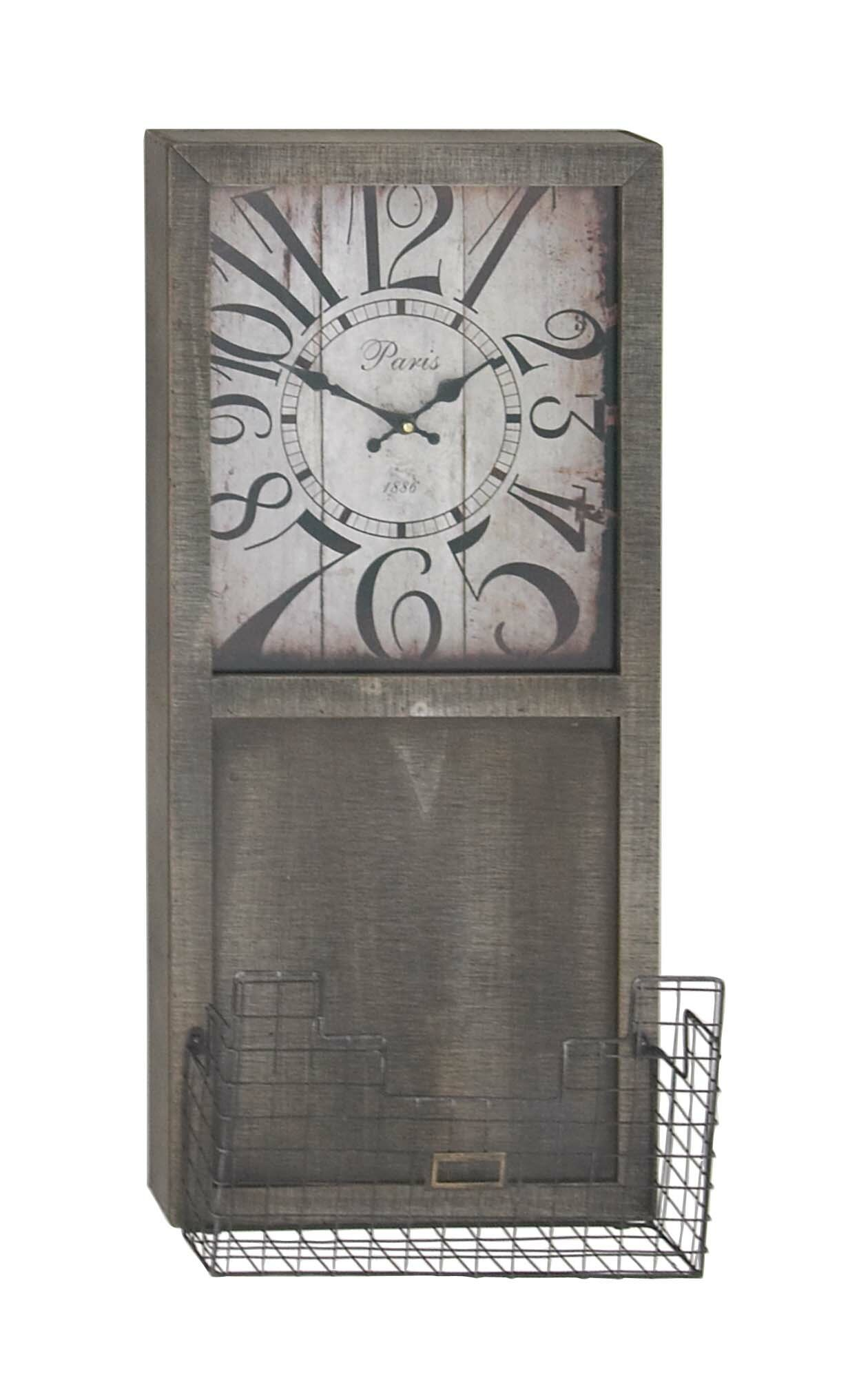Gracie Oaks Everson Rustic Rectangular Wall Clock With Storage Basket |  Wayfair
